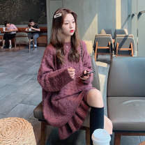 Women's large Winter 2020, autumn 2020 Coffee Top + skirt, cranberry Top + skirt S=1,M=2,L=3,XL=4 sweater Two piece set commute easy thick Socket Long sleeves Solid color Korean version Crew neck routine wool Three dimensional cutting routine 51% (inclusive) - 70% (inclusive) Short skirt Ruffle Skirt
