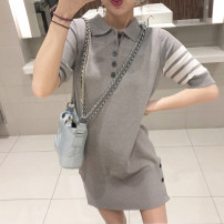 Women's large Summer 2020 grey S=1,M=2,L=3,XL=4 Dress singleton  commute Straight cylinder thin Socket Short sleeve Solid color Korean version Polo collar other Three dimensional cutting routine 81% (inclusive) - 90% (inclusive) Short skirt