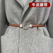 Belt / belt / chain Double skin leather Black, white, brown, apricot, caramel female belt Versatile Single loop Youth, youth, middle age Double buckle Round buckle Frosting alloy Check pattern city beach 040#