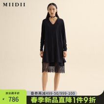 Dress Spring 2021 Black and white S M L XL XXL Mid length dress other Long sleeves commute V-neck middle-waisted Socket Big swing routine 25-29 years old Type H The answer Retro Lace 211ML0048 30% and below nylon