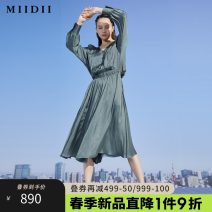 Dress Spring 2021 Dark bean green black S M L XL XXL longuette Long sleeves V-neck Elastic waist Single breasted routine 25-29 years old Type A The answer Splicing 211ML0091 More than 95% other polyester fiber Polyester 100%