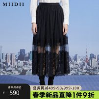 skirt Spring 2021 S M L XL XXL black Mid length dress Retro High waist High waist skirt Type H 25-29 years old More than 95% The answer polyester fiber Lace Polyester 100%