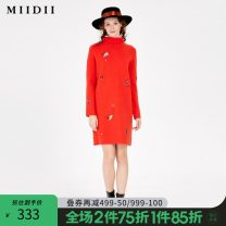 Dress Winter of 2019 S M L XL Mid length dress singleton  Long sleeves commute High collar middle-waisted Socket Pencil skirt routine 25-29 years old Type H The answer literature Embroidery 30% and below polyester fiber Same model in shopping mall (sold online and offline)
