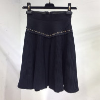 skirt Spring 2020 black Middle-skirt street High waist A-line skirt Solid color Type A 25-29 years old knitting