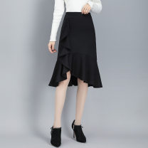skirt Summer 2020 M. L, XL, XXL, XXXL, large - XXXL black Middle-skirt commute Irregular Solid color 25-29 years old ZH9815 91% (inclusive) - 95% (inclusive) other Cool Parkour other Splicing
