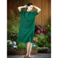Dress Summer 2020 green S. M, l, XL, full presale Mid length dress singleton  elbow sleeve commute stand collar Loose waist Solid color Socket A-line skirt routine Type A Simplicity Pocket, button More than 95% silk
