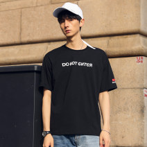 T-shirt Fashion City Black, white, precious blue thin M,L,XL,2XL,3XL Others Short sleeve Crew neck easy daily summer Cotton 100% teenagers routine Exquisite Korean style 2021 Alphanumeric printing The thought of writing No iron treatment