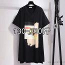 Dress Summer 2020 black 2XL,3XL,4XL,5XL,6XL Mid length dress singleton  Short sleeve commute Crew neck High waist 25-29 years old Korean version 81% (inclusive) - 90% (inclusive) cotton