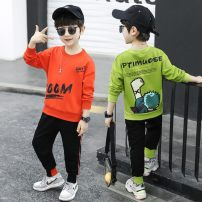 suit Other / other Orange, green 110cm,120cm,130cm,140cm,150cm,160cm male spring and autumn motion Long sleeve + pants 2 pieces routine There are models in the real shooting Socket nothing Cartoon animation cotton children Expression of love 2056 Solon suit Class B Chinese Mainland Zhejiang Province