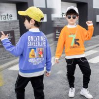 Sweater / sweater Other / other Orange, violet male 100cm,110cm,120cm,130cm,140cm,150cm spring and autumn nothing Korean version Socket routine There are models in the real shooting cotton letter 75 sweater Class B Cotton liner