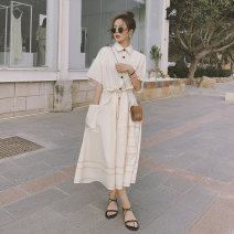 Dress Summer 2021 Beige S,M,L,XL longuette singleton  Long sleeves commute Polo collar Loose waist Solid color Single breasted Big swing routine Others 18-24 years old Type A Korean version Pocket, stitching, lace up Q786 30% and below other polyester fiber