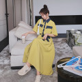 Dress Summer 2021 yellow S,M,L,XL longuette singleton  Short sleeve commute Polo collar Loose waist Solid color Single breasted A-line skirt routine Others 18-24 years old Type H Other / other Korean version Q766 30% and below other polyester fiber