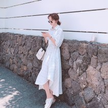 Dress Summer 2021 White, red S,M,L,XL Mid length dress singleton  Short sleeve commute Polo collar middle-waisted lattice Single breasted Irregular skirt puff sleeve Others 18-24 years old Type A Other / other Korean version 51% (inclusive) - 70% (inclusive) other polyester fiber