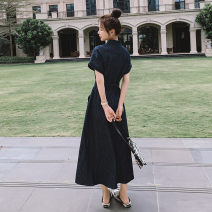 Dress Summer 2021 black S,M,L,XL Mid length dress singleton  Short sleeve commute Polo collar High waist Dot Single breasted A-line skirt other Others 18-24 years old Type H Other / other Korean version pocket 30% and below other polyester fiber