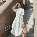 Dress Summer 2021 white S,M,L,XL longuette singleton  Long sleeves commute Polo collar High waist Solid color Single breasted A-line skirt routine Others 18-24 years old Type H Other / other Korean version Q746 More than 95% other polyester fiber