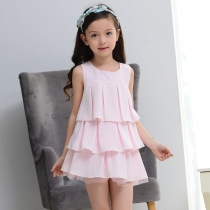 Dress Pink yellow Other / other female 110cm 120cm 130cm 140cm 150cm Polyester 100% summer leisure time Short sleeve Solid color chemical fiber Cake skirt YB2212024 Class B