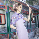 Dress Summer 2021 violet S will ship on April 20, m will ship on April 22, l will ship on April 24 Mid length dress Two piece set Sleeveless commute stand collar High waist Decor One pace skirt other Others 30-34 years old Type H Magic Q by lou Retro printing More than 95% Chiffon polyester fiber