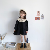 Dress Black, black (pre sale) female Other / other 80cm,90cm,100cm,110cm,120cm,130cm Other 100% spring and autumn Korean version Long sleeves Solid color cotton A-line skirt 2 years old, 3 years old, 4 years old, 5 years old, 6 years old, 7 years old