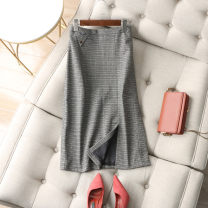 skirt Winter 2020 M,L,XL Li Wuwu Mid length dress commute High waist skirt houndstooth  Type H 25-29 years old More than 95% other Button, patch Retro