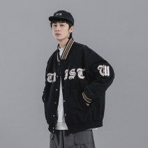 Jacket Youth fashion Black, white M,L,XL,2XL routine easy Other leisure spring Long sleeves Wear out Baseball collar Japanese Retro teenagers routine Single breasted 2021 washing Closing sleeve other Embroidery Side seam pocket cotton More than 95%