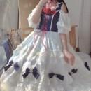 Dress Spring 2021 [short] Vest + white skirt, [long] Vest + white skirt XS (for necklace), s (for necklace), m (for necklace), l (for necklace), XL (for necklace), XXL (for necklace) Mid length dress Two piece set Short sleeve Sweet One word collar High waist Solid color Socket Princess Dress Others