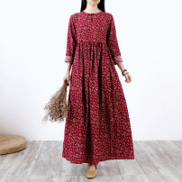 Dress Spring of 2019 gules M,L,XL,2XL longuette singleton  Long sleeves commute Crew neck High waist Decor Socket A-line skirt routine Others 25-29 years old Type A Others ethnic style Fold, pocket, print 71% (inclusive) - 80% (inclusive) other cotton