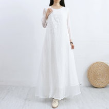 Dress Spring of 2019 S,M,L longuette other Nine point sleeve commute Crew neck Loose waist Solid color Socket A-line skirt routine Others Type A Other / other literature More than 95% other hemp