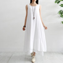 Dress Summer of 2019 White, red, rose, green, sapphire, black M, L Mid length dress singleton  Sleeveless commute Crew neck Loose waist Solid color Socket A-line skirt routine Others 25-29 years old Type A Other / other literature Pocket, asymmetrical 51% (inclusive) - 70% (inclusive) other cotton