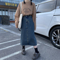 skirt Summer 2021 S,M,L,XL Make old blue Mid length dress Versatile High waist A-line skirt Solid color Type A 18-24 years old 30% and below Denim cotton