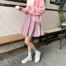 skirt Summer 2021 Average size Berry Pink Short skirt Versatile High waist Pleated skirt other Type A 18-24 years old ZR4338 30% and below other polyester fiber
