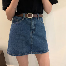 skirt Spring 2021 S,M,L,XL Light blue, dark blue Short skirt Versatile Natural waist A-line skirt Type A 18-24 years old 30% and below Denim other