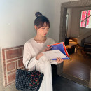 Dress Summer 2021 White, blue sky Average size Mid length dress singleton  Long sleeves Sweet Crew neck High waist Socket A-line skirt puff sleeve Others 18-24 years old Type A ZR4345 30% and below cotton Ruili