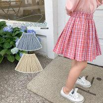 skirt 90, 100 (model), 110, 120, 130, 140, 150 Blue, yellow, pink Other / other female Cotton 65% polyester 35% summer skirt Korean version lattice A-line skirt cotton Class B