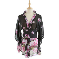 Pajamas / housewear set female Other / other Average size (80-130 kg) Black, pink Polyester (polyester) Long sleeves Sweet Leisure home summer ultrathin V-neck Broken flowers double-breasted youth one-piece garment printing Middle-skirt