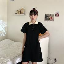 Dress Summer 2020 Pink, black M,L,XL Middle-skirt singleton  Short sleeve commute Polo collar Solid color Socket routine Others 18-24 years old Type A Korean version R307 C-03 31% (inclusive) - 50% (inclusive) other