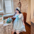 Women's large Summer 2020 Large XL, 2XL, 3XL, 4XL Dress singleton  Sweet easy moderate Socket Short sleeve Solid color, bow square neck puff sleeve 18-24 years old Lace stitching Medium length Princess Dress Lotus leaf edge Lolita