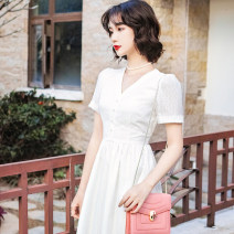 Dress Summer 2021 white S,M,L Mid length dress singleton  Long sleeves commute other middle-waisted Solid color other A-line skirt Petal sleeve camisole 25-29 years old Type A Official dress of Tang family 91% (inclusive) - 95% (inclusive) other polyester fiber
