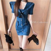 Dress Summer 2021 blue S M Short skirt singleton  Short sleeve commute Admiral High waist Solid color other routine Others 18-24 years old Aier pigeon Korean version More than 95% other Triacetate fiber (triacetate fiber) 100%