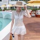 Split swimsuit other White, black, blue M,L,XL Skirt split swimsuit Steel strap breast pad female V-neck