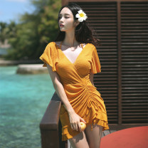 one piece  other M,L,XL Black, turmeric Skirt one piece Steel strap breast pad female Short sleeve Casual swimsuit Pleating