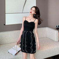Dress Summer 2020 black S,M,L Short skirt singleton  Sleeveless commute square neck High waist Solid color zipper One pace skirt other camisole 18-24 years old T-type Korean version Lotus leaf, open back, Auricularia auricula, stitching 30% and below brocade polyester fiber