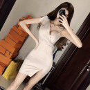 Dress Spring of 2019 Picture color S,M,L Miniskirt singleton  street V-neck other Others 18-24 years old T-type Other / other 30% and below brocade polyester fiber Europe and America
