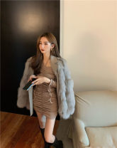 Dress Spring 2021 Black, card Average size Short skirt singleton  Long sleeves commute One word collar High waist Solid color Socket One pace skirt routine camisole 18-24 years old T-type Korean version Pleating, open back, pleating, stitching 30% and below brocade polyester fiber