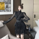 Fashion suit Winter 2020 S. M, l, average size Black top, black tassel skirt 18-25 years old 30% and below polyester fiber