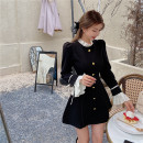 Dress Winter 2020 black S, M Short skirt singleton  Long sleeves street stand collar High waist Solid color zipper A-line skirt routine Others 18-24 years old T-type Splicing 30% and below Flannel polyester fiber Europe and America