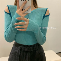 Wool knitwear Spring 2021 Average size White, blue, black, coffee, khaki Long sleeves singleton  Socket other 31% (inclusive) - 50% (inclusive) Regular routine commute Self cultivation Low crew neck routine Solid color Socket Korean version 18-24 years old