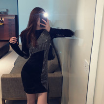Dress Winter 2020 black S, M Short skirt singleton  Long sleeves street Crew neck High waist Solid color Socket Pencil skirt routine Others 18-24 years old T-type Diamond inlay 30% and below brocade nylon Europe and America