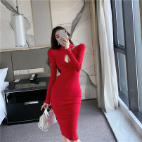 Dress Spring 2021 Red, black S,M,L longuette singleton  Long sleeves commute Crew neck High waist Solid color Socket One pace skirt routine Others 18-24 years old Type H court Hollowing, chain, splicing 31% (inclusive) - 50% (inclusive) knitting polyester fiber