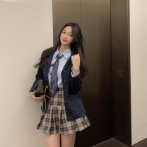 Fashion suit Spring 2021 Average size Suit jacket, blue shirt with tie 3146, plaid pleated skirt s3147, plaid pleated skirt m3147 18-25 years old 96% and above polyester fiber