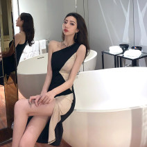 Dress Summer of 2019 black S,M,L Middle-skirt singleton  Sleeveless street Slant collar other Oblique shoulder 18-24 years old T-type Other / other 30% and below knitting polyester fiber Europe and America